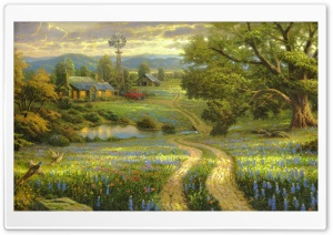 Country Living by Thomas Kinkade HD Wide Wallpaper for Widescreen