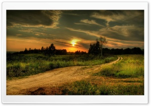 Country Road At Sunset HD Wide Wallpaper for Widescreen