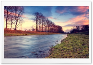 Countryside Stream At Sunset HD Wide Wallpaper for Widescreen