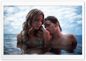Couple In The Water HD Wide Wallpaper for Widescreen