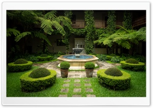 Courtyard and Fountain HD Wide Wallpaper for Widescreen