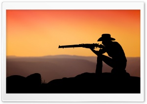 Cowboy Shooting In The Sunset HD Wide Wallpaper for 4K UHD Widescreen desktop & smartphone