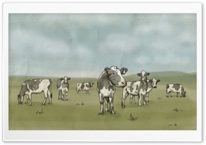 Cows Drawing HD Wide Wallpaper for Widescreen