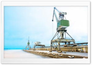 Cranes At Mussalo Harbour HD Wide Wallpaper for 4K UHD Widescreen desktop & smartphone