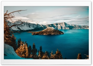 Crater Lake, Wizard Island HD Wide Wallpaper for Widescreen