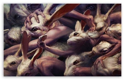 Creepy Rabbits Artwork HD wallpaper for Wide 16:10 5:3 Widescreen WHXGA WQXGA WUXGA WXGA WGA ; HD 16:9 High Definition WQHD QWXGA 1080p 900p 720p QHD nHD ; Mobile 5:3 16:9 - WGA WQHD QWXGA 1080p 900p 720p QHD nHD ;