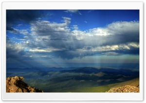 Crepuscular Rays Over Mountains HD Wide Wallpaper for 4K UHD Widescreen desktop & smartphone