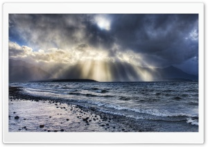 Crepuscular Rays Over Sea HD Wide Wallpaper for Widescreen