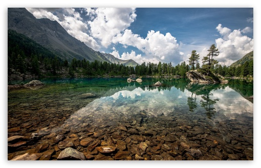 Download Cristal Clear Mountain Lake HD Wallpaper