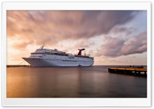 Cruise Liner Pier Sunset HD Wide Wallpaper for 4K UHD Widescreen desktop & smartphone