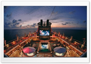 Cruise Ship Deck Night HD Wide Wallpaper for Widescreen