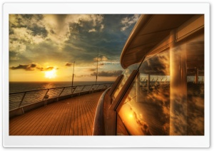Cruise Ship Deck, Sunset HD Wide Wallpaper for Widescreen