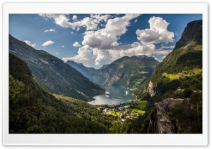 Cruise Ships, Geiranger village, Norway HD Wide Wallpaper for Widescreen
