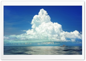 Cumulus Clouds Above the Sea HD Wide Wallpaper for Widescreen