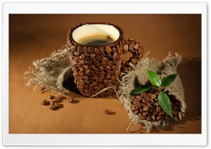 Cup Of Coffee Beans Leaves HD Wide Wallpaper for 4K UHD Widescreen desktop & smartphone