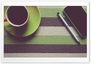 Cup of Coffee, Pen, Smartphone HD Wide Wallpaper for Widescreen