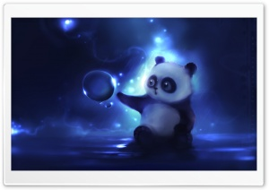 Curious Panda Painting HD Wide Wallpaper for Widescreen