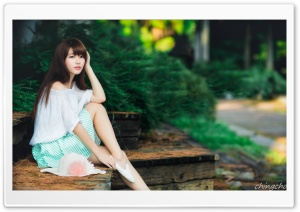 Cute Asian Girl Photography Summer HD Wide Wallpaper for Widescreen