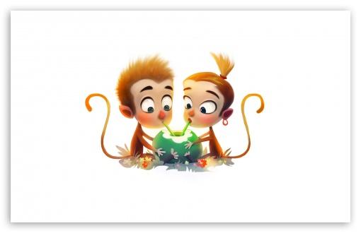 Download Cute Baby Monkeys Drinking Coconut Water... HD Wallpaper