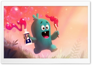 Cute Baby Monster Brushing Teeth Illustration HD Wide Wallpaper for 4K UHD Widescreen desktop & smartphone