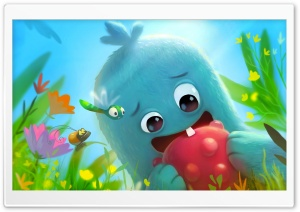 Cute Baby Monster First Tooth Illustration HD Wide Wallpaper for 4K UHD Widescreen desktop & smartphone