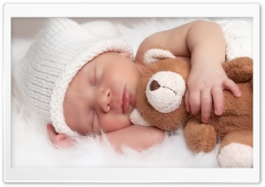 Cute Baby With Teddy Bear HD Wide Wallpaper for 4K UHD Widescreen desktop & smartphone
