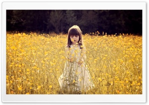 Cute Child In A Flower Field HD Wide Wallpaper for 4K UHD Widescreen desktop & smartphone