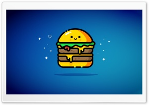 Cute Double Cheeseburger - Blue HD Wide Wallpaper for 4K UHD Widescreen desktop & smartphone