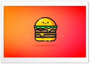 Cute Double Cheeseburger - Orange, Red HD Wide Wallpaper for 4K UHD Widescreen desktop & smartphone