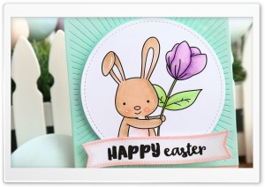 Cute Easter Bunny Card HD Wide Wallpaper for Widescreen