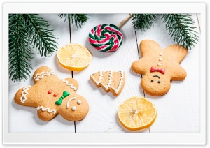 Cute Gingerbread Men, Winter Holidays Ultra HD Wallpaper for 4K UHD Widescreen desktop, tablet & smartphone