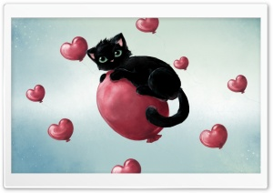 Cute Kitty Floating On Heart Baloons HD Wide Wallpaper for Widescreen