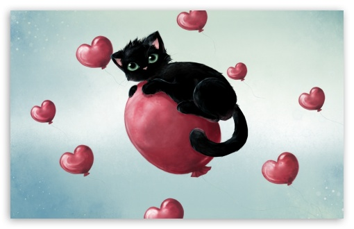 Cute Kitty Floating On Heart Baloons HD wallpaper for Wide 16:10 5:3 Widescreen WHXGA WQXGA WUXGA WXGA WGA ; HD 16:9 High Definition WQHD QWXGA 1080p 900p 720p QHD nHD ; Standard 4:3 3:2 Fullscreen UXGA XGA SVGA DVGA HVGA HQVGA devices ( Apple PowerBook G4 iPhone 4 3G 3GS iPod Touch ) ; Tablet 1:1 ; iPad 1/2/Mini ; Mobile 4:3 5:3 3:2 16:9 - UXGA XGA SVGA WGA DVGA HVGA HQVGA devices ( Apple PowerBook G4 iPhone 4 3G 3GS iPod Touch ) WQHD QWXGA 1080p 900p 720p QHD nHD ;