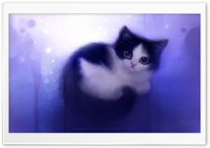 Cute Kitty Painting HD Wide Wallpaper for Widescreen