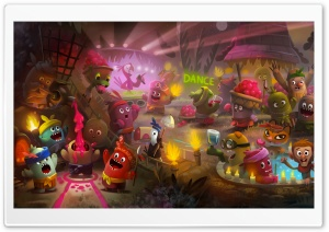 Cute Little Monsters Party Illustration HD Wide Wallpaper for 4K UHD Widescreen desktop & smartphone