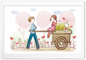 Cute Valentine Couple, Valentine's Day Illustration HD Wide Wallpaper for Widescreen