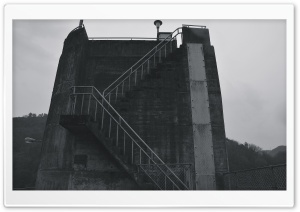 Dam Stairs Black And White HD Wide Wallpaper for Widescreen