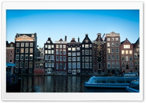 Damrak, Amsterdam HD Wide Wallpaper for Widescreen