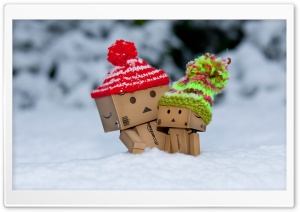 Danbo Is Scared By So Much Snow HD Wide Wallpaper for 4K UHD Widescreen desktop & smartphone