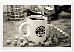 Danbo Starbucks Coffee HD Wide Wallpaper for Widescreen