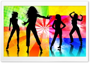 Dancing Girls Silhouette HD Wide Wallpaper for Widescreen