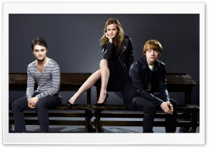 Daniel Radcliffe, Rupert Grint and Emma Watson HD Wide Wallpaper for Widescreen