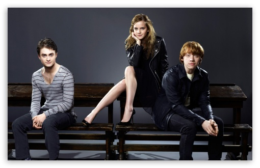 Daniel Radcliffe, Rupert Grint and Emma Watson HD wallpaper for Wide 16:10 5:3 Widescreen WHXGA WQXGA WUXGA WXGA WGA ; HD 16:9 High Definition WQHD QWXGA 1080p 900p 720p QHD nHD ; Standard 4:3 3:2 Fullscreen UXGA XGA SVGA DVGA HVGA HQVGA devices ( Apple PowerBook G4 iPhone 4 3G 3GS iPod Touch ) ; Tablet 1:1 ; iPad 1/2/Mini ; Mobile 4:3 5:3 3:2 16:9 - UXGA XGA SVGA WGA DVGA HVGA HQVGA devices ( Apple PowerBook G4 iPhone 4 3G 3GS iPod Touch ) WQHD QWXGA 1080p 900p 720p QHD nHD ;