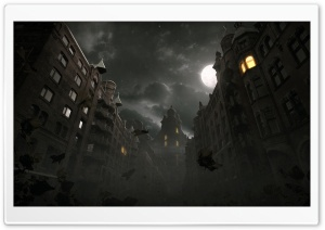 Dark City Autumn Scene HD Wide Wallpaper for Widescreen