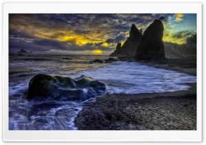 Dark Clouds Over Ocean HDR HD Wide Wallpaper for Widescreen