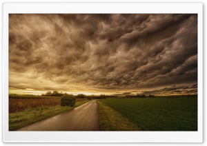 Dark Storm Clouds, Road, Landscape HD Wide Wallpaper for 4K UHD Widescreen desktop & smartphone