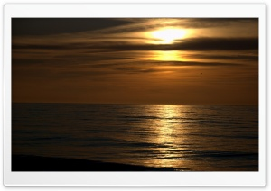 Dark Sunset Beach HD Wide Wallpaper for Widescreen