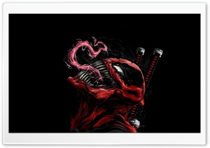 Deadpool Venom Illustration Artwork Comics HD Wide Wallpaper for 4K UHD Widescreen desktop & smartphone
