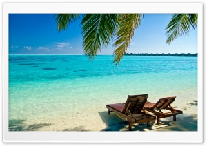 Deck Chairs On The Beach HD Wide Wallpaper for Widescreen