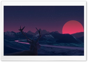 Deer Illustration HD Wide Wallpaper for 4K UHD Widescreen desktop & smartphone